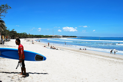 Kuta Beach on Bali, photo by BEST PHOTO, (Creative Commons)