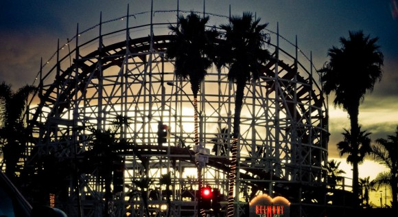 Rollercoaster at Sunset at Belmont Park (Creative Commons)